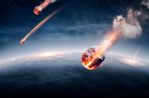 Meteorites on their way to earth and breaking through atmosphere